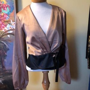 NWOT Gold and Black Surplice Wrap Blouse Sz. Lg
